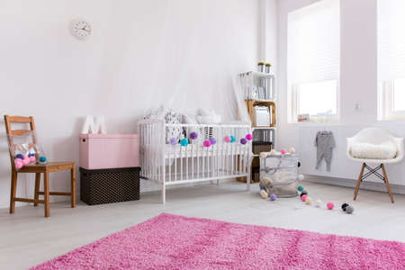 babys: Up-to-date decor of modern new spacious babys bedroom with cradle and toys