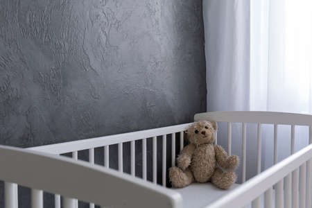 interior spaces: Shot of a teddy bear sitting in a crib