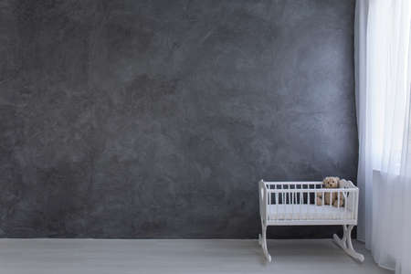 bassinet: Shot of a spacious grey nursery room with a bassinet and a teddy bear in it