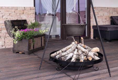 original idea: Image of original campfire idea on villa patio Stock Photo