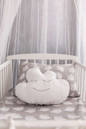 interior decor: Shot of a cloud pillow in a canopy bed Stock Photo