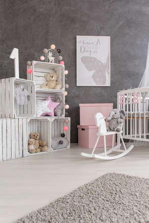 room decoration: Shot of a creative cozy nursery room Stock Photo