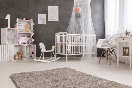 room decoration: Shot of a cozy baby room with a canopy bed