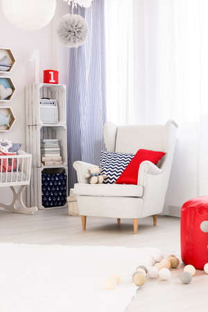Marvelous Child Room In Marine Style With White Furniture, Comfortable.. Stock Photo,  Picture And Royalty Free Image. Image 57970989.