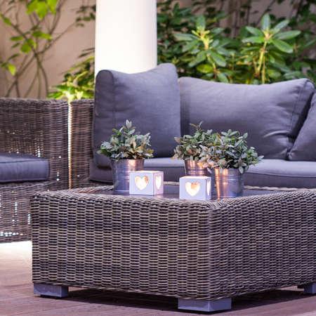 arbour: Elegant stylish garden furniture in the arbour Stock Photo