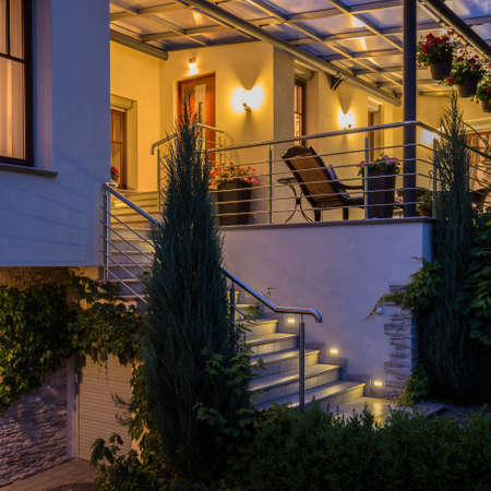 lighting: Villa with beauty terrace - view from outside