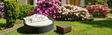 home and garden: Round garden sofa to rest on sunny day
