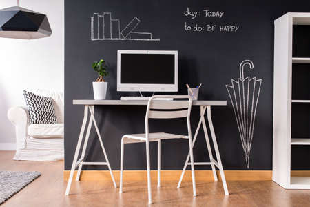 home office interior: Minimalist white little home office with trendy blackboard wall Stock Photo