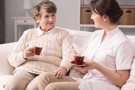 joyfulness: Elderly woman and her private carer sitting together on sofa, drinking tea. Stock Photo