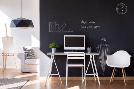 Creative solution for small workspace at home in modern design