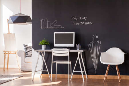 wall paint: Blackboard paint flat design with white minimalist furniture