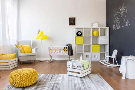 baby nursery: Shot of a creative baby room with a blackboard wall