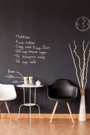 wall decoration: Black and white coffee space at home in loft design