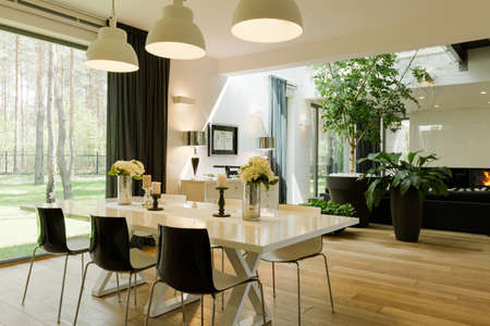 spacious: Shot of a table in a spacious dining room