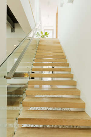 wooden stairs: Shot of a wooden staircase in a modern house