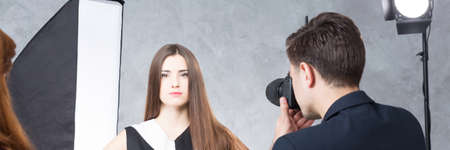 visagiste: Attractive and young model during session for fashion magazine, panorama