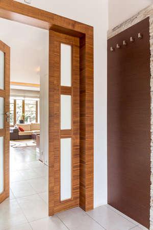 door: Shot of a door leading to a living room