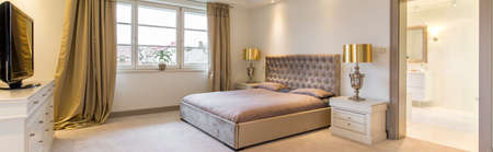 master bedroom: Panoramic picture of a stylish master bedroom