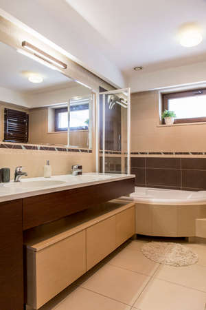 master bath: Shot of a spacious modern bathroom with a bath in a corner Stock Photo