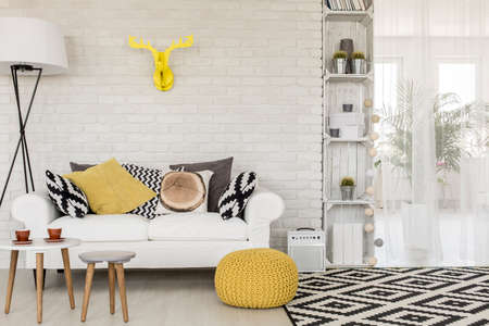 APARTMENT LIVING: Shot of a sofa in a modern studio