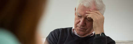 individual: Old man at visit in psychiatrists office