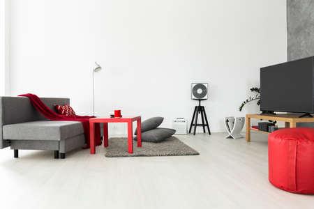 グレーの家具と赤のアクセサリーは明るく風通しの良いリビング ルーム