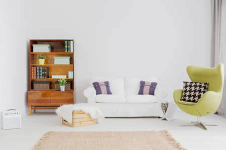 comfy: Very bright and clear living room with modernist bookcase and a comfy sofa Stock Photo