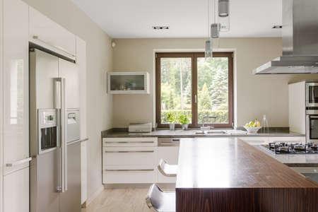 case moderne: Colpo di una luminosa cucina in una casa moderna