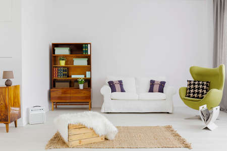 modernist: Spacious interior of a contemporary living room with a beautiful modernist bookcase and a green egg chair