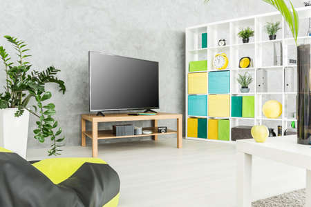 Modern living room with a tv set and a large rack with boxes and decorative items on it Stock Photo