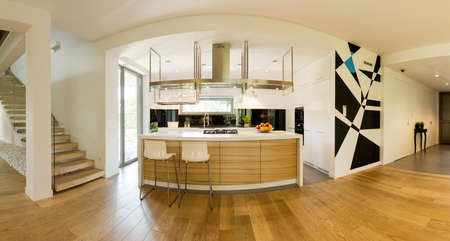kitchen island: Very spacious ground floor of a contemporary house with a kitchen space and a kitchen island