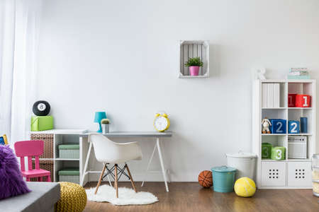 Colorful room for children design with white walls