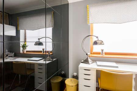 Stylish Study Room With Black Glass Sliding Wardrobe Doors White
