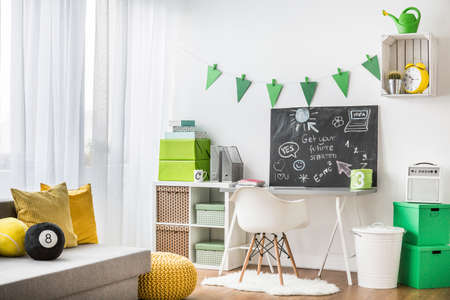 comfortable: Cosy bright teenager room with comfortable study space Stock Photo