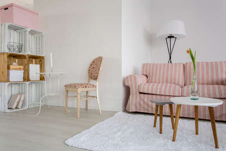 living room furniture: Shot of a cozy living room with pastel furniture