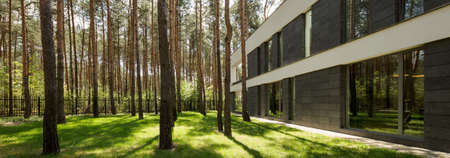 modern architecture: Modern rectangular detached house with a large backyard in a forested area