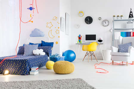work area: Bright and spacious child room divided into a work area and area to sleep