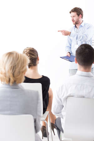 strategy meeting: Businesspeople during important meeting with a boss talking about companys strategy Stock Photo