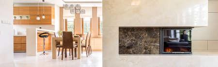 Intérieur luxueux avec une nouvelle cheminée en marbre, en arrière-plan salle à manger ouverte sur la cuisine