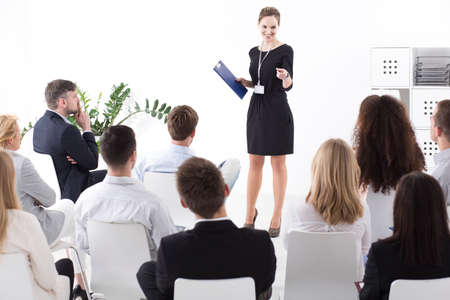 management meeting: Business meeting in a successful company. Boss choosing employee of the month Stock Photo