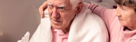 weak: Senior man with flu is very weak