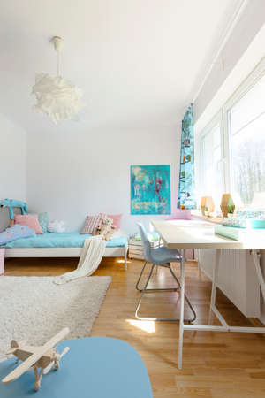 white interior: Shot of a cosy modern childrens room Stock Photo