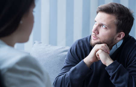 psychoanalysis: Photo of male with mental problem during therapy