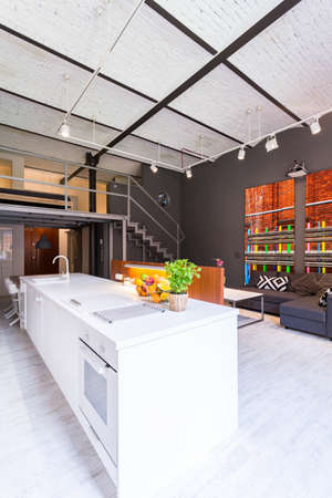open floor plan: Modern mezzanine loft with white open kitchen and exposed brick ceiling Stock Photo