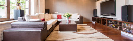 extra large: Spacious interior with extra large sofa, small table and big television with speakers