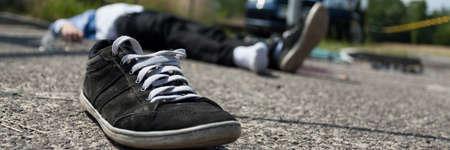 deadly: Close-up of a deadly car crash, horizontal Stock Photo