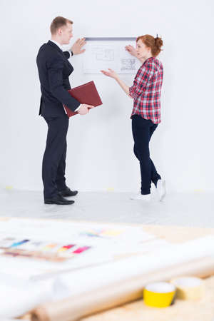 redecoration: Shot of a young designer explaining her project to a businessman