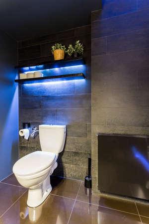 black bathroom: Black bathroom interior with wood effect wall tiles, toilet and blue led lighting
