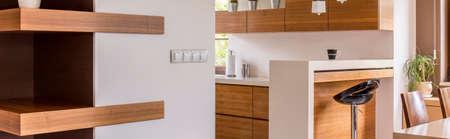 muebles de madera: comedor abierto a una nueva luz de la cocina con muebles de madera