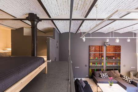 Vista di un appartamento soppalco con soggiorno, camera da letto e il tetto di mattoni decorativo